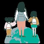 Maman qui tient par la main deux enfants et qui marche sur globe terrestre