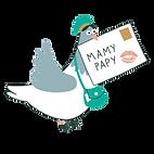 Pigeon voyageur apportant une carte postale à papy et mamy