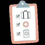 Checklits avec des cases à cocher pour les bagages, la trousse de pharmacie et les formalités administrative spour un voyage serein