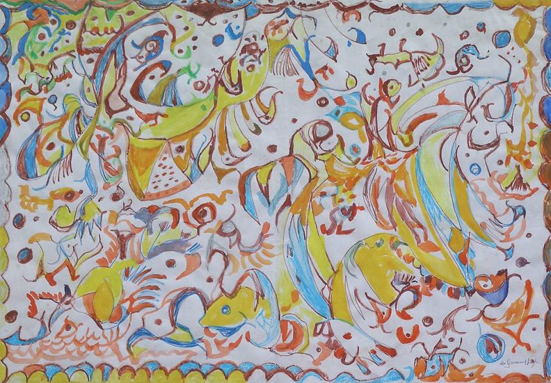 martha grünenwaldt chalk gouache painting buy art online gallery affordable art europe belgium