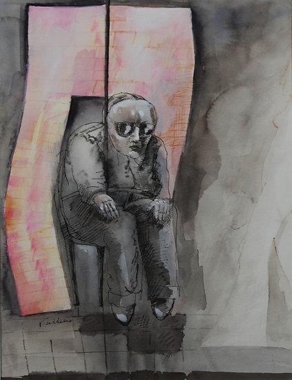 Falhaber, W. - Original watercolor 'Blinde Lotverkoper'