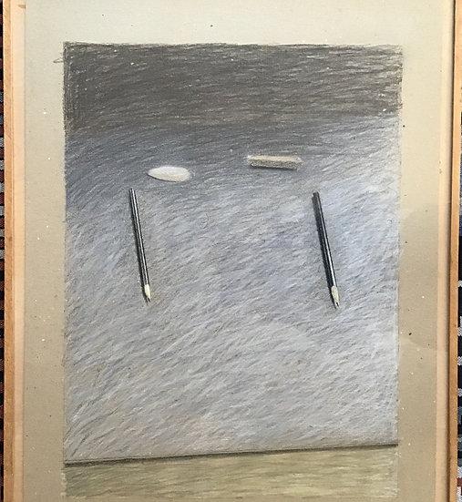 Leon Tebbe - Drawing pastel on Cardboard 'Lithopotloden en Puimsteentjes'