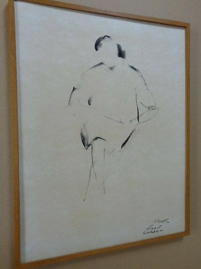 Frans Minnaert Seated Woman original charcoal work on paper Buy art Online Affordable art Europe Belgium