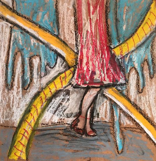 Pavel Kuragin - Pastel drawing 'Walking in the Rainy Day'