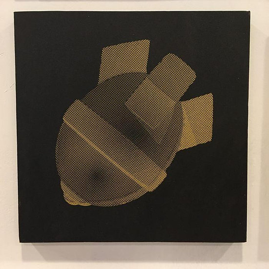 Iskander Walen - Little LoveBomb (Gold on Black) - Acrylic on canvas