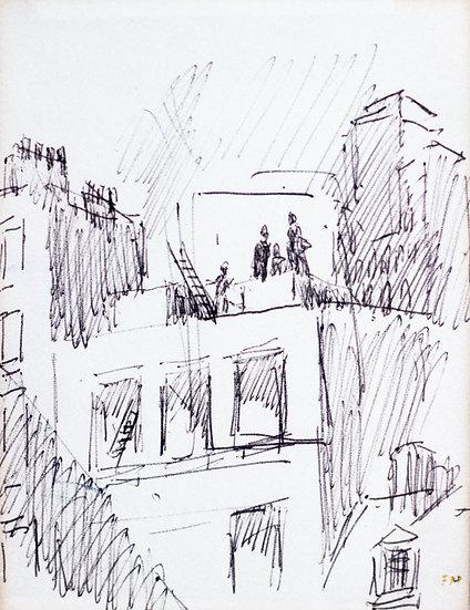 Frans Masereel - Block of Houses - Original work on paper