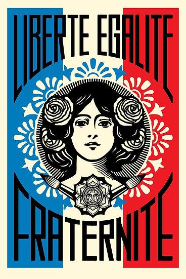 Obey Shepard Fairey Buy art online Liberté Egalité Fraternité Offset poster Signed print Gallery Affordable art Europe Belgiu