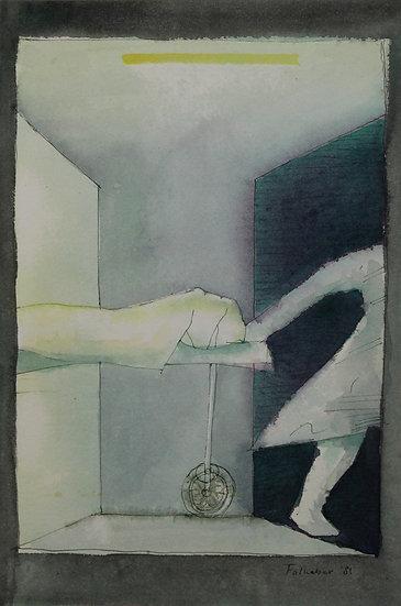 Falhaber, W. - Original watercolor 'De Gang'