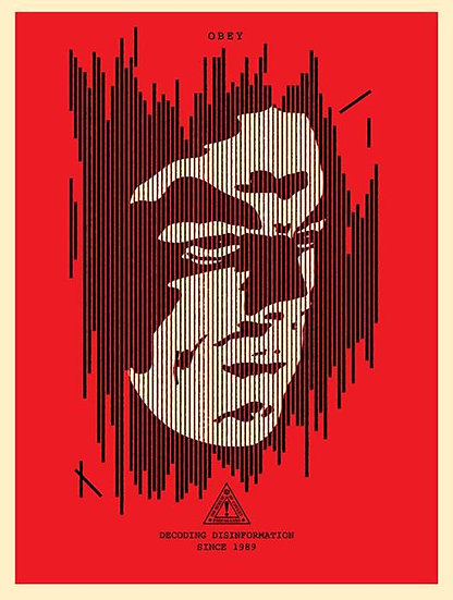 Shepard Fairey (Obey) - Decoding Disinformation (RED) - limited art print