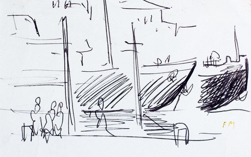 Frans Masereel - Bateaux au quai - Original work on paper