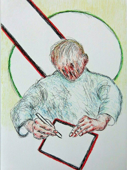 Roger Raveel - Writing Boy (hand coloured in pencil)