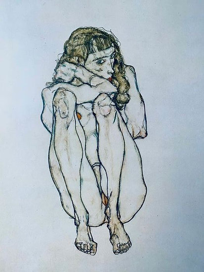 Egon Schiele Sitting Nude Signed print Buy art Online Affordable art Europe Belgium Austria
