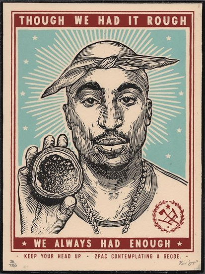 Ravi Zupa - 2Pac Contemplating a Geode - Hand-Finished