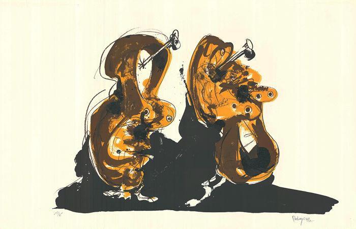 Paul Rebeyrolle - Ledos au mur - Lithograph