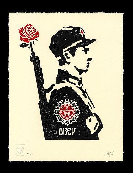 Obey Shepard Fairey Buy art online Rose Soldier letterpress Signed print Gallery Affordable art Europe Belgium