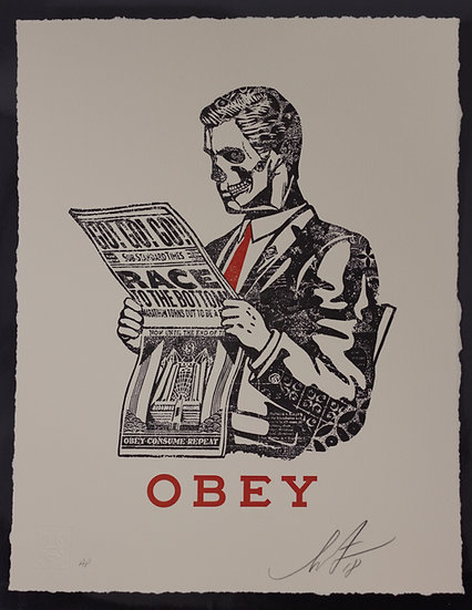 Shepard Fairey (Obey) - Race To The Bottom - signed ARTIST PROOF