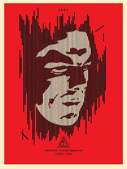 Obey Shepard Fairey Buy art online Decoding Disinformation Signed screen print Gallery Affordable art Europe Belgium