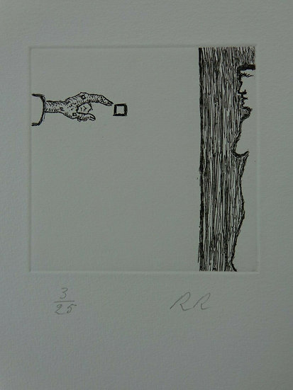 Roger Raveel - Black and white etching on paper, signed and numbered