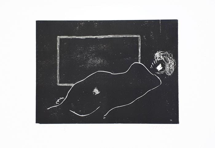 Roger Raveel Woodcut Naakt en Rechthoek Nude Hand signed Buy art Online Affordable art Europe Belgium
