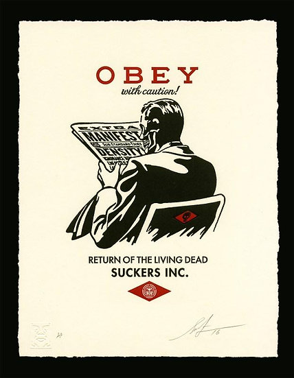 Obey Shepard Fairey buy art online With Caution Return of the living dead signed print gallery affordable art europe belgium