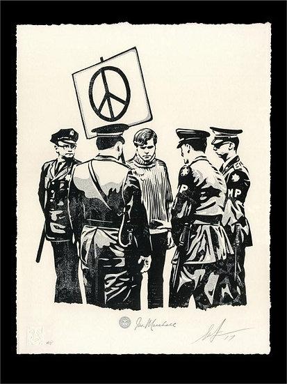 Obey Shepard Fairey buy art online Peaceful Protestor letterpress signed print gallery affordable art europe belgium
