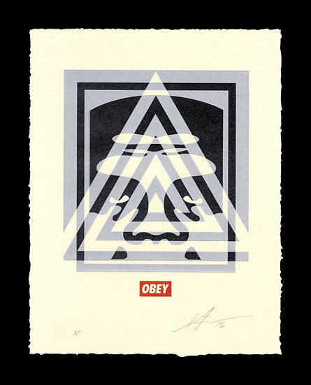 Obey Shepard Fairey buy art online Pyramid Top Icon Letterpress signed print gallery affordable art europe belgium