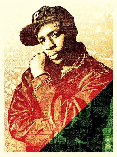 Obey Shepard Fairey Buy art online Chuck D Collage Signed print Gallery Affordable art Europe Belgium