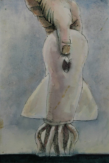 Falhaber, W. - Original watercolor 'Inktvis'