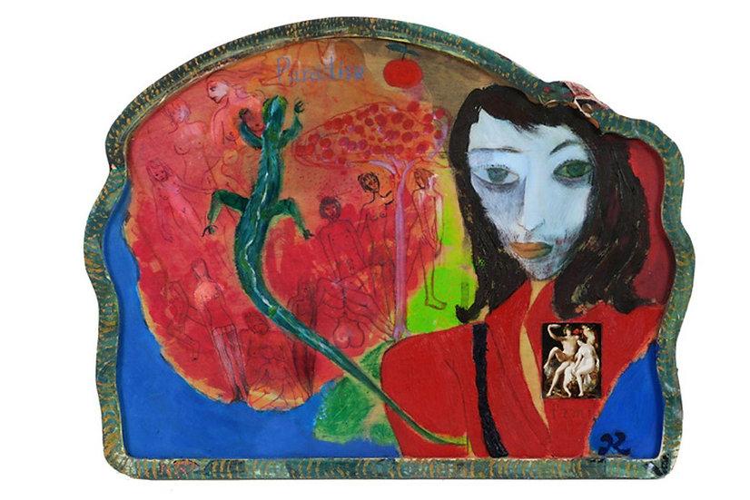 Kun Fang original mixed media work signed woman and lizard Belgium Europe buy art online affordable