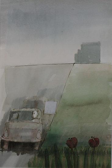 Falhaber, W. - Original watercolor 'Autoweg'