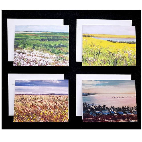 Set of 4 Pastel Paintings Greeting Cards