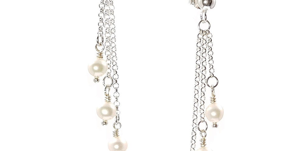 triple chain drop pearl and sterling silver earrings