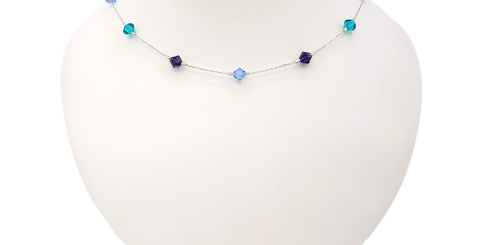 blue sterling silver station necklace front view