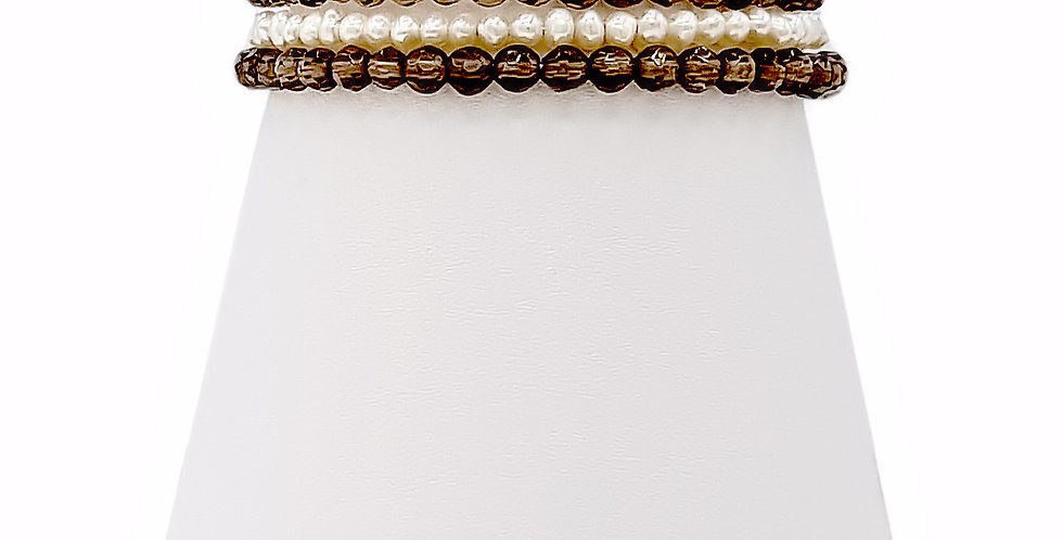 smokey quartz and pearl stacker bracelet front view