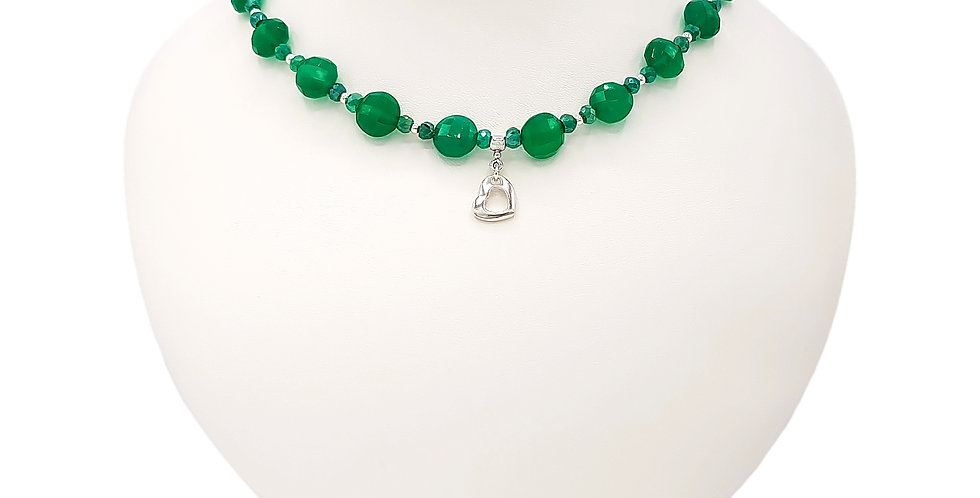 green onyx heart necklace front view