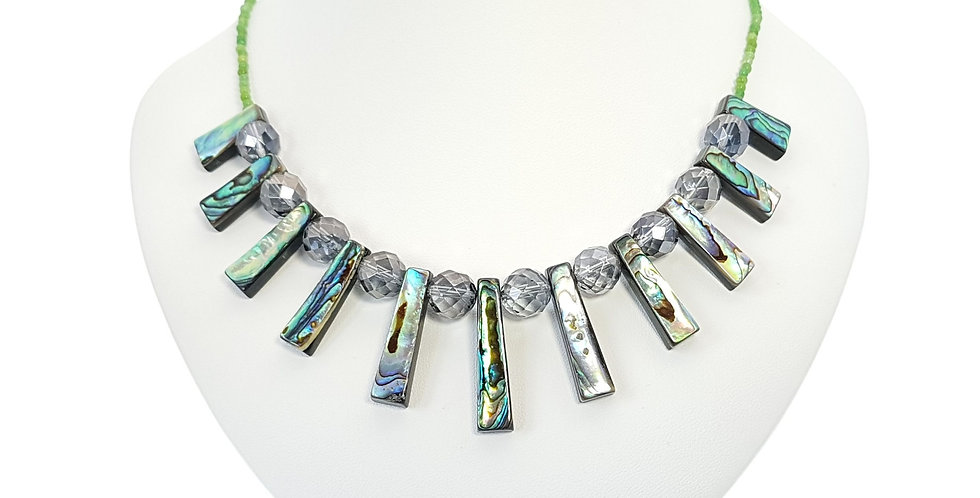Abalone, Mystic Grey Quartz, Green Quartzite and Sterling Silver Necklace on display bust