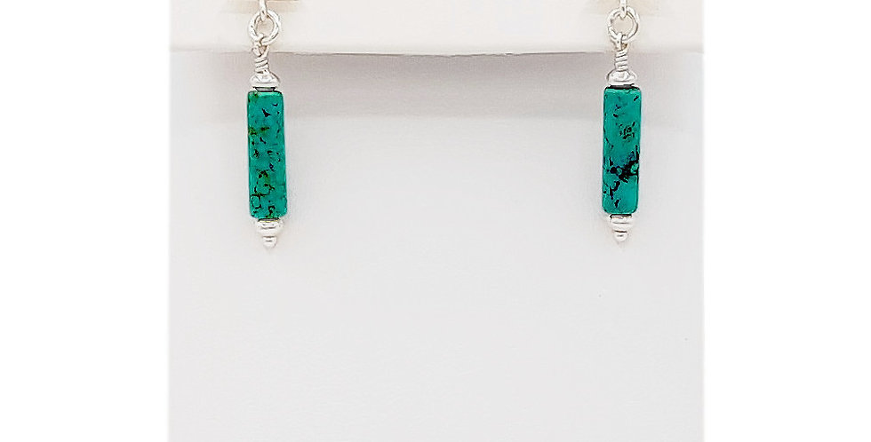 turquoise tubes sterling silver earrings