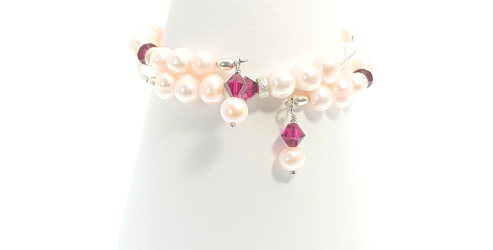 front view pink pearl bracelet