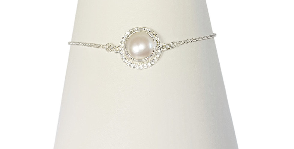 pearl and white topaz sterling silver bracelet front view