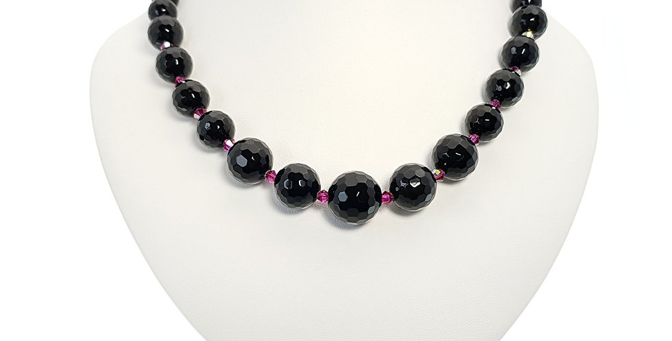 black agate and Swarovski crystals necklace on bust