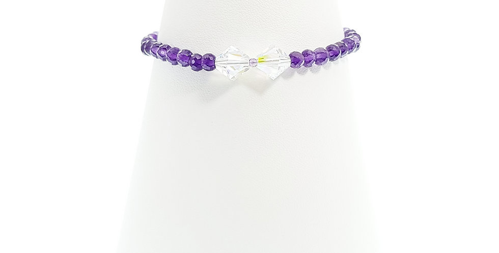 Amethyst, Swarovski crystals and Sterling Silver Bow Bracelet on Stand