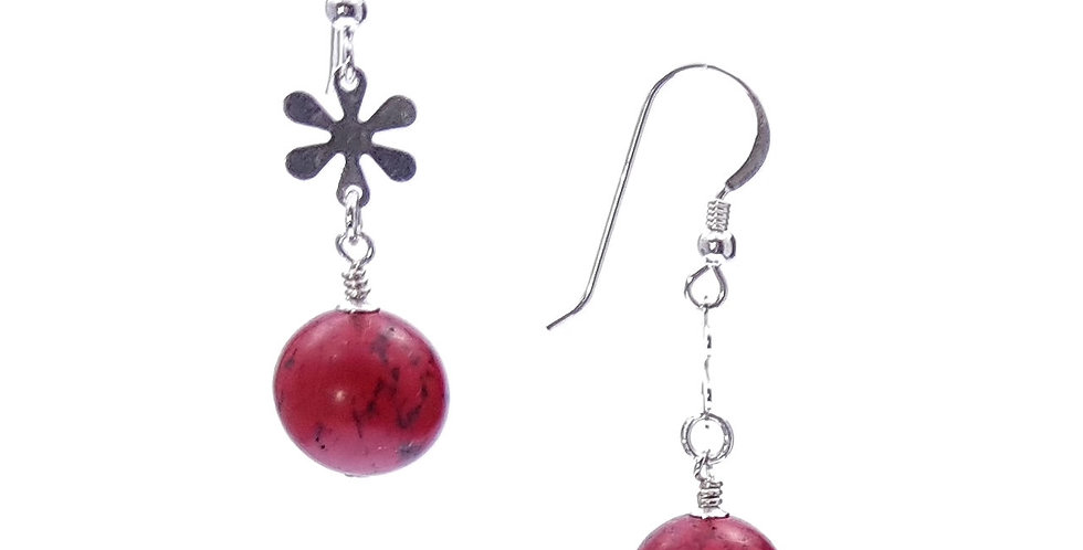 red magnesite and sterling silver earrings