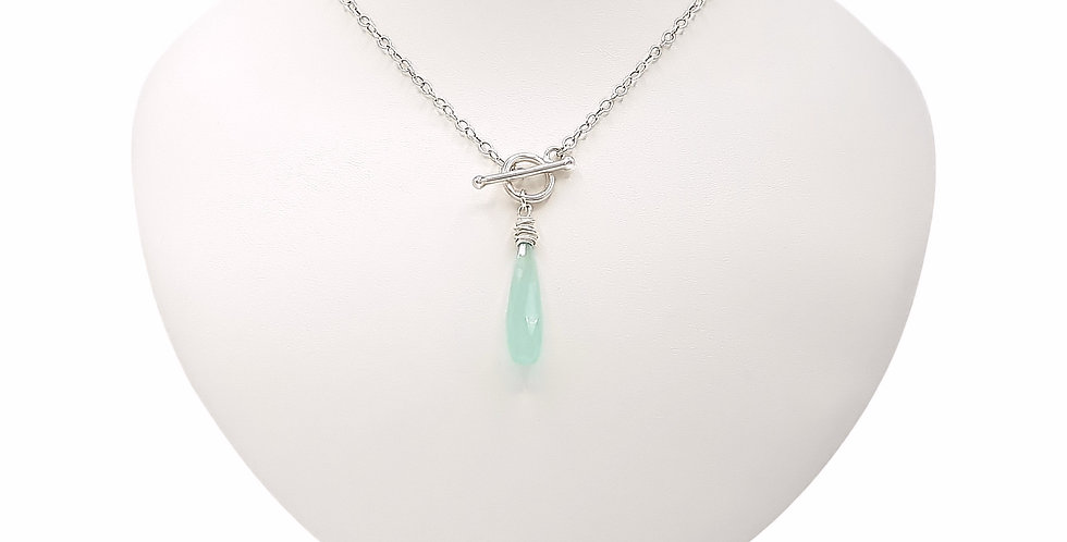 blue chalcedony sterling silver toggle necklace front view