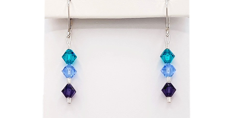 shades of blue earrings with Swarovski crystals front view
