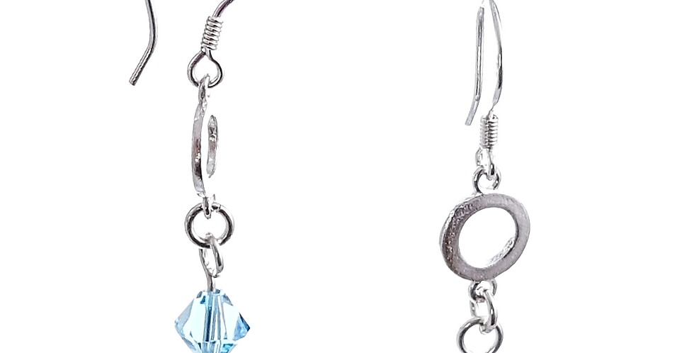 Sterling Silver and Blue Swaroski Crystals Circle Earrings