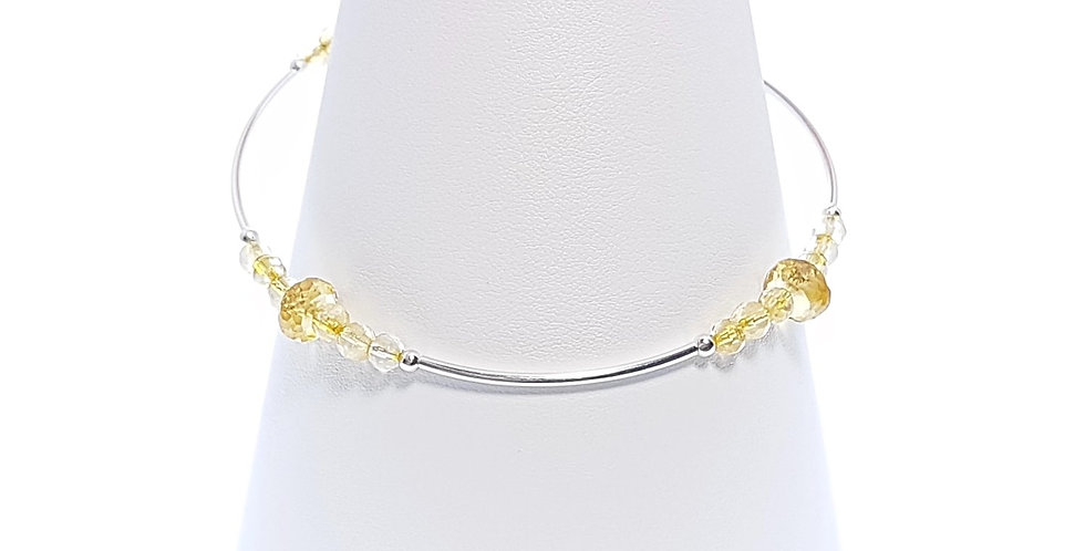 citrine and sterling silver stacker bracelet on stand