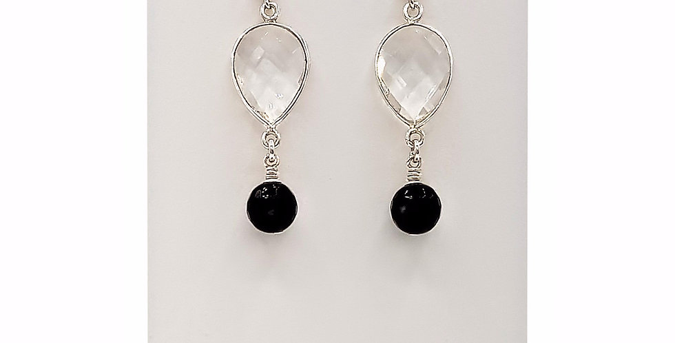 clear quartz and black agate earrings front view