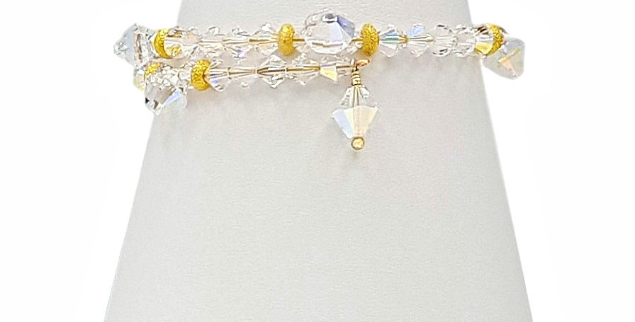 gold plated sterling silver wrap around memory wire bracelet front view
