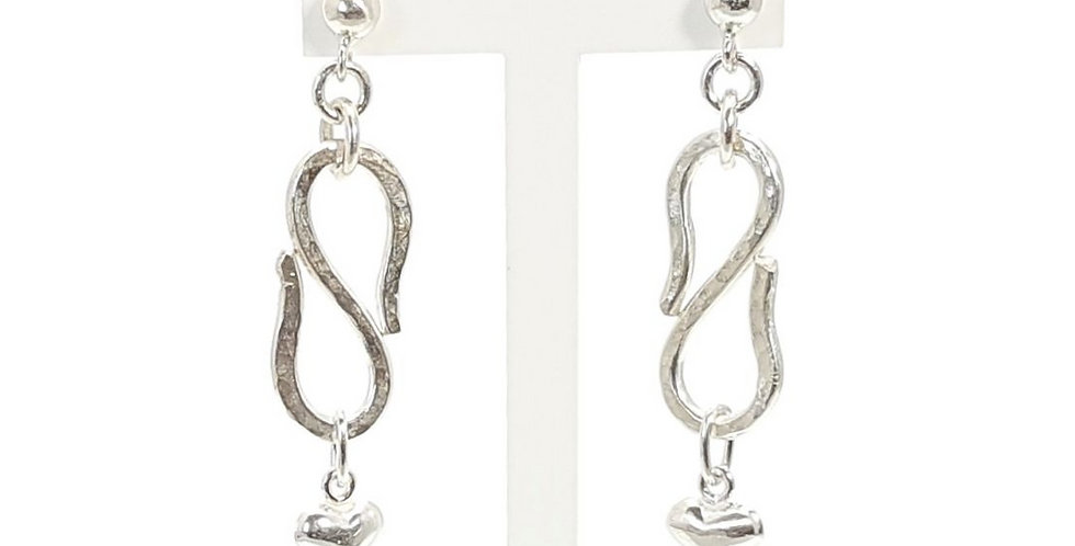 sterling silver heart charm earrings on stand