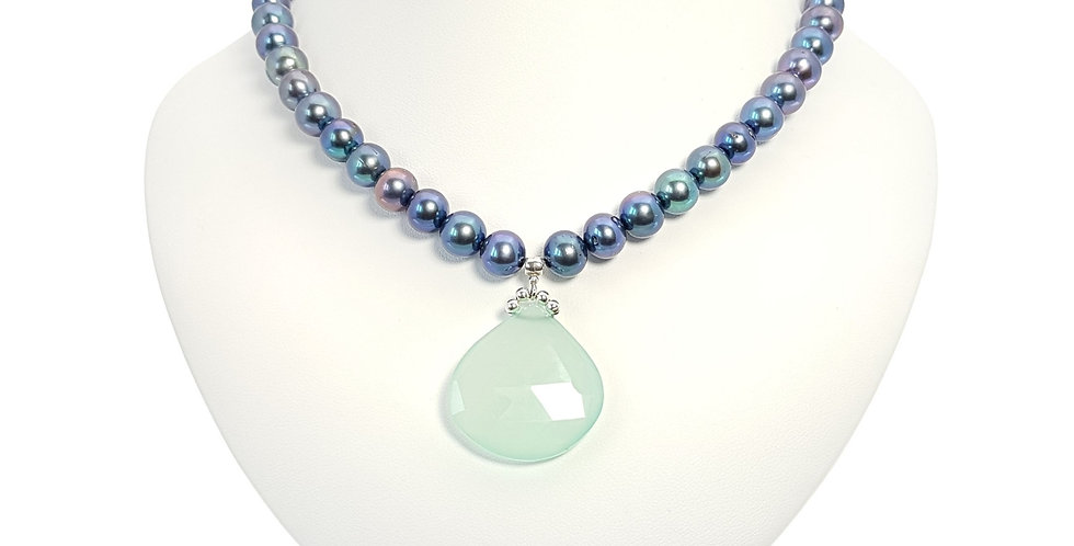 Peacock pearls and pear drop chalcedony necklace